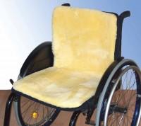 Rollstuhlauflage mit med. Schaffell, durchgehend