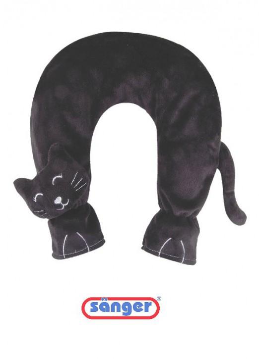 Nackenwärmflasche Flauschbezug Katze schwarz