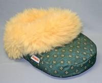 Fußwärmer, Fußsack mit med. Schaffell, grün / gelb