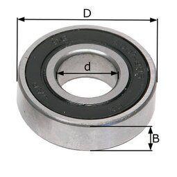 Kugellager, Achsenlager, 6000 2RS. d=8mm D=22mm B=7mm