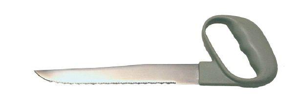 Messer mit Winkelgriff und Wellenschliff, 20 cm