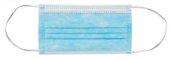 Mundschutz mit Gummischlaufe, Dreilagig, blau, 50 Stück
