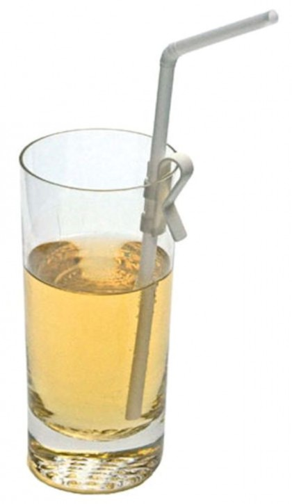 Strohhalmhalter für den Glasrand