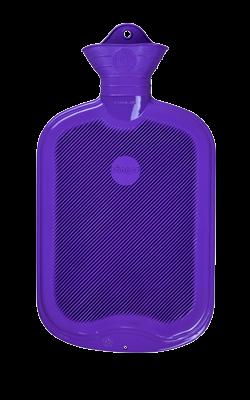 Gummi-Wärmflasche, 2,0 Liter, beidseitig mit Lamellen, flieder
