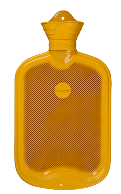 Gummi-Wärmflasche, 2,0 Liter, beidseitig mit Lamellen, gelb