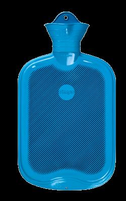 Gummi-Wärmflasche, 2,0 Liter, beidseitig mit Lamellen, hellblau