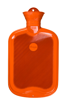 Gummi-Wärmflasche, 2,0 Liter, beidseitig mit Lamellen, orange