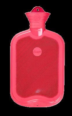 Gummi-Wärmflasche, 2,0 Liter, beidseitig mit Lamellen, rose
