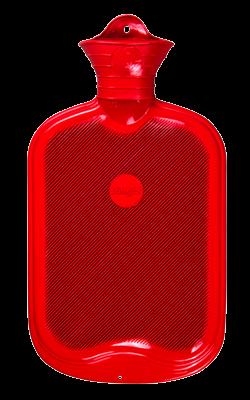 Gummi-Wärmflasche, 2,0 Liter, beidseitig mit Lamellen, rot