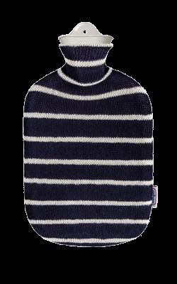 2,0 Liter Wärmflasche mit Strickbezug aus Baumwolle, Blaue Streifen