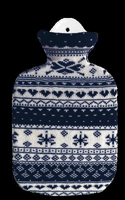 2,0 Liter Wärmflasche mit Strickbezug aus Baumwolle, Norweger