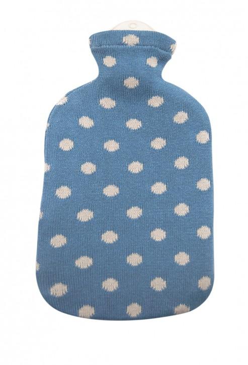 2,0 Liter Wärmflasche mit Strickbezug aus Baumwolle, himmelblau