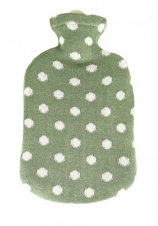 2,0 Liter Wärmflasche mit Strickbezug aus Baumwolle, maigrün