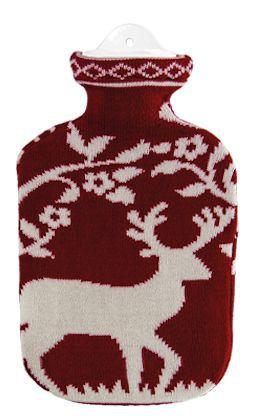 2,0 Liter Wärmflasche mit Strickbezug aus Baumwolle, Hirsch