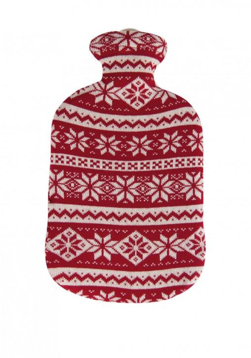 2,0 Liter Wärmflasche mit Strickbezug aus Baumwolle, Kristall