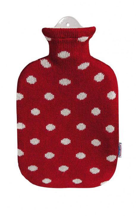 2,0 Liter Wärmflasche mit Strickbezug aus Baumwolle, rot