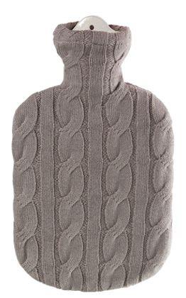 2,0 Liter Wärmflasche mit Strickbezug aus Baumwolle, Zopfmuster Stein
