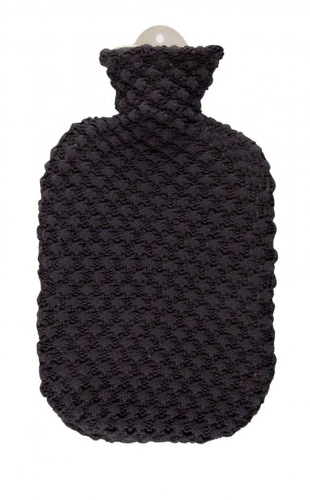 2,0 Liter Wärmflasche mit Strickbezug aus Baumwolle, Popcorn
